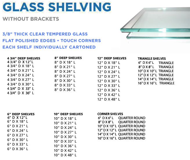 Accent Bath & Kitchen - Stock Inventory of Glass Shelves
